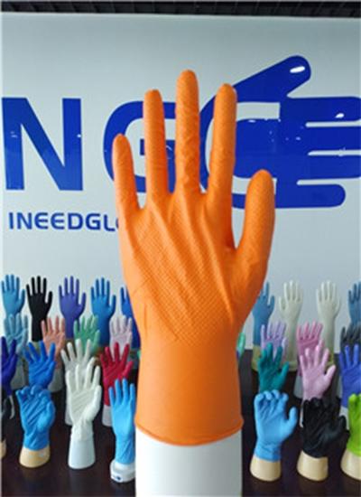 6mil钻石纹纹理橘色丁腈手套