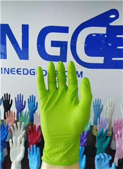 7mil钻石纹纹理绿色丁腈手套