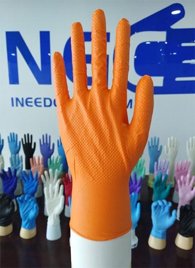 8mil钻石纹纹理橘色丁腈手套