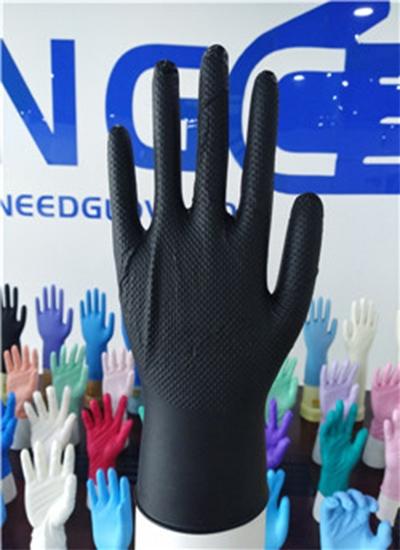 8mil钻石纹纹理黑色丁腈手套